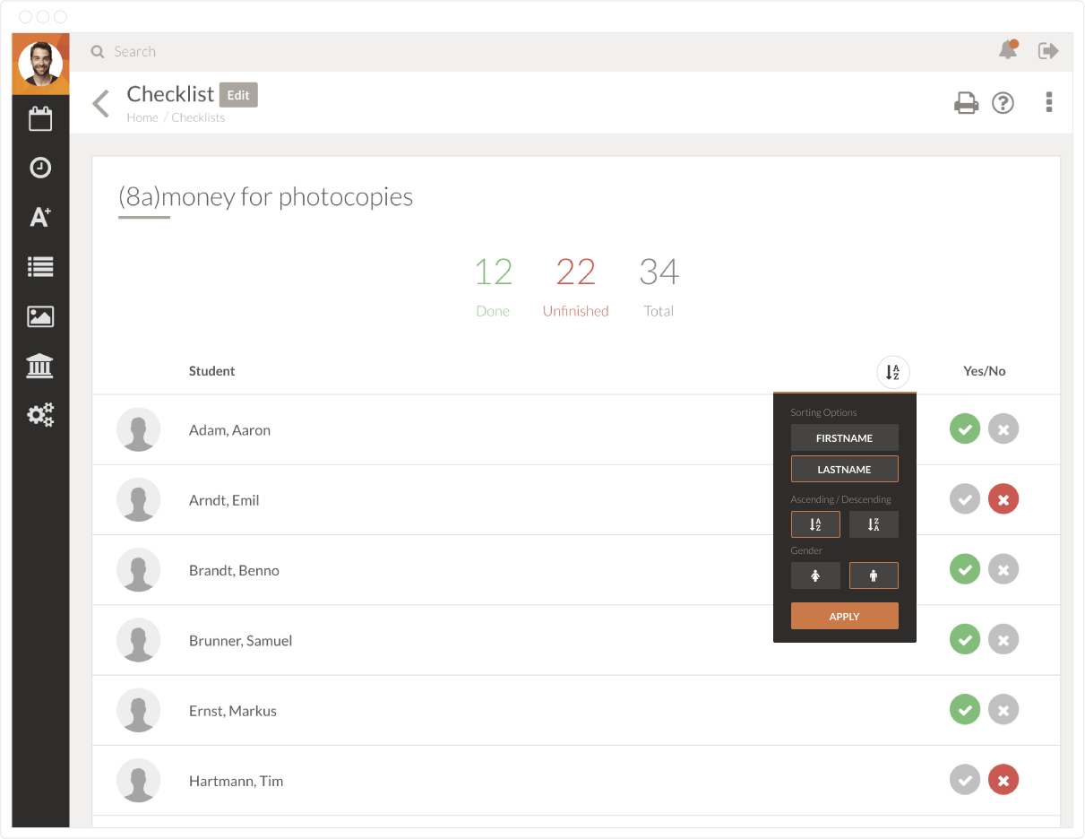add checklists for classes in TEGO.CLASS