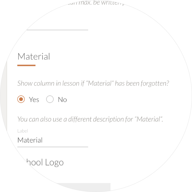manage options for material column